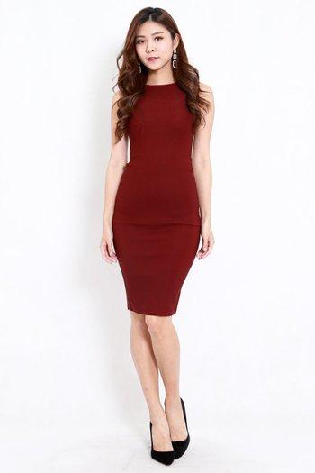 Kathy Midi Dress (Maroon)
