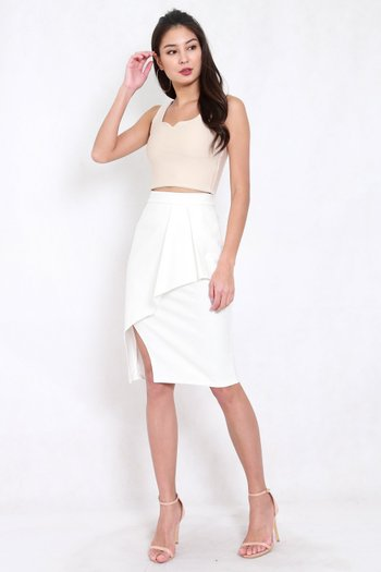 *Premium* Pleated Overlap Midi Skirt (White)