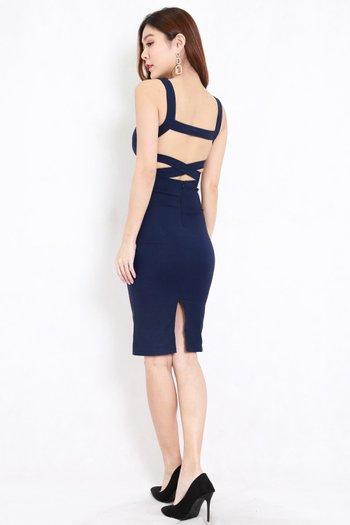 Kylie Open Back Midi Dress (Navy)