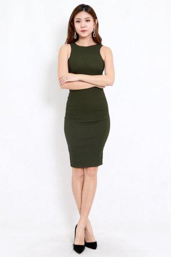 Kathy Midi Dress (Olive)