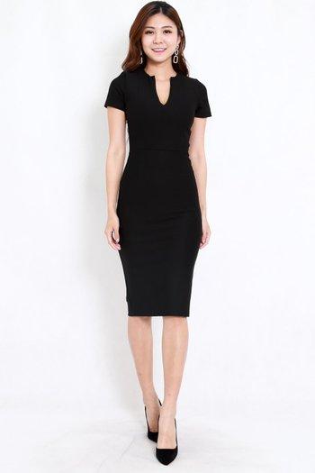*Premium* V Cut Midi Dress (Black)