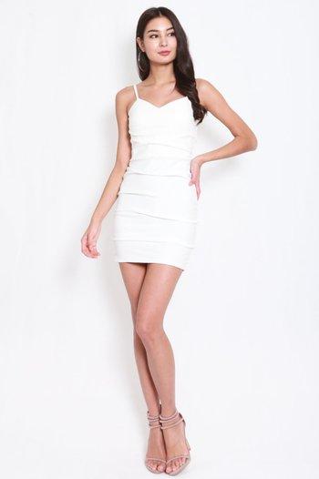 *Premium* Sweetheart Ruch Bodycon Dress (White)