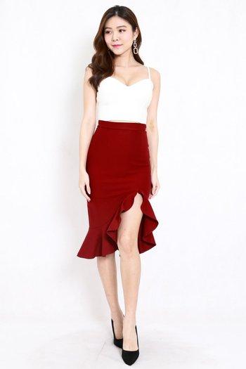 *Premium* Ruffle Slit Midi Skirt (Maroon)