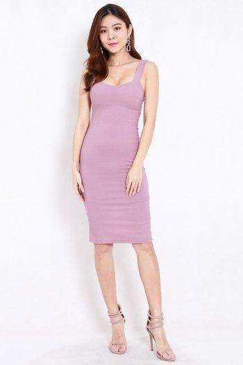Kylie Open Back Midi Dress (Lavender)