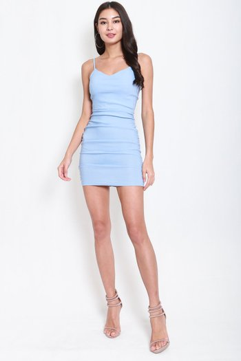 [Backorder] Sweetheart Ruch Bodycon Dress (Baby Blue)