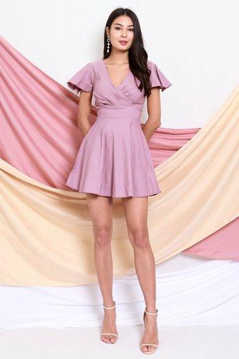Flutter Overlap Skater Dress (Lavender)