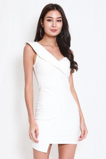 *Premium* One Shoulder Overlap Dress (White)