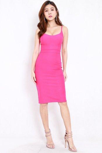 *Premium* Criss Cross Back Midi Dress (Barbie Pink)