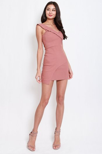 One Shoulder Overlap Dress (Tan-Nude)