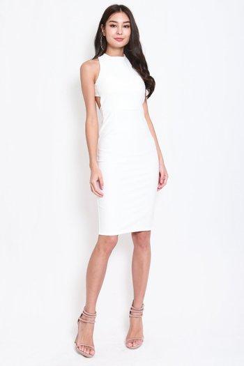 *Premium* High Neck Cross Back Midi Dress (White)