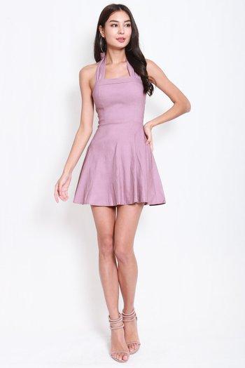 Bow Halter Skater Dress (Lavender)