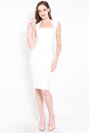 *Premium* Queen Anne Midi Dress (White)