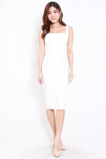 *Premium* Square Neck Midi Dress w/o Slit (White)