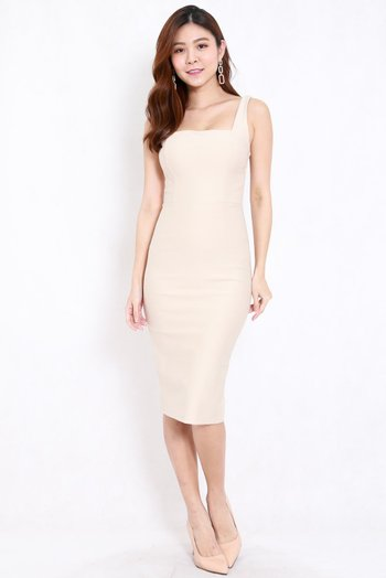 *Premium* Square Neck Midi Dress w/o Slit (Ivory)