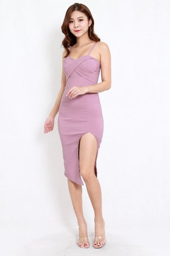 Crossover Slit Spag Dress (Lavender)