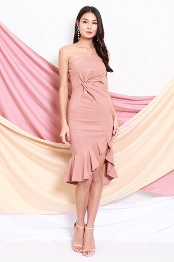 Twist Knot Mermaid Tube Dress (Tan Nude)
