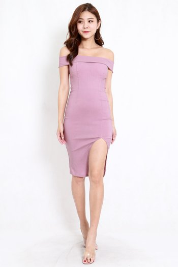 Bandage Off Shoulder Slit Dress (Lavender)