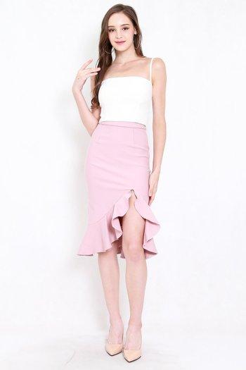 *Premium* Ruffle Slit Midi Skirt (Light Pink)