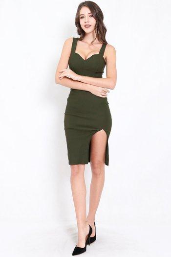 Classic Sweetheart Slit Midi Dress (Olive)