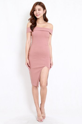 Bandage Off Shoulder Slit Dress (Tan-Nude)