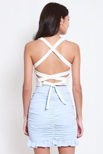 *Premium* Criss Cross Scoop Neck Top (White)