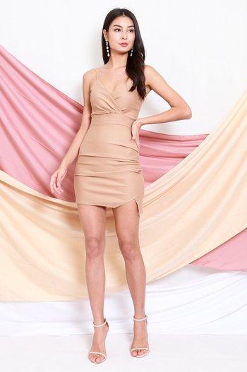 *Premium* Thin Strap Overlap Slit Dress (Skin Nude)