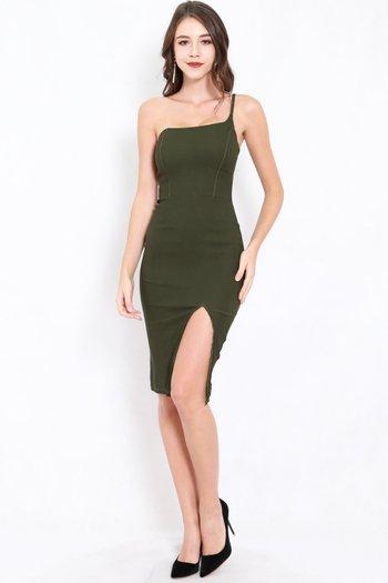 Slit Toga Midi Dress (Olive)