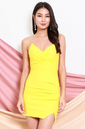 *Premium* Thin Strap Overlap Slit Dress (Yellow)