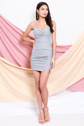 *Premium* Thin Strap Overlap Slit Dress (Grey)