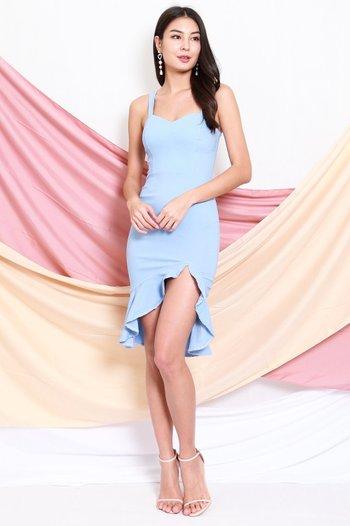 Sweetheart Ruffle Slit Dress (Baby Blue)