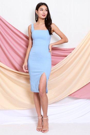 Square Neck Slit Midi Dress (Baby Blue)