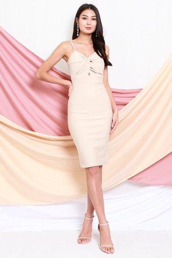 *Premium* Twist Knot Midi Dress (Ivory)