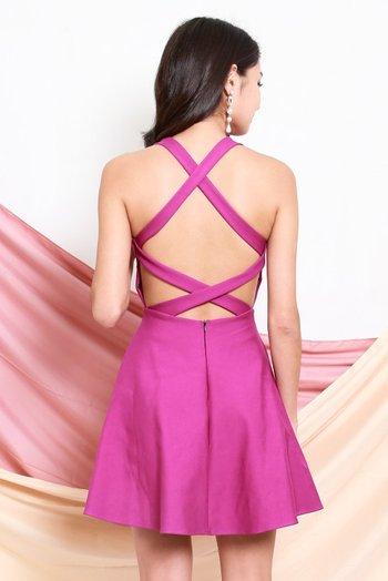 *Premium* Cross Back Skater Dress (Magenta)