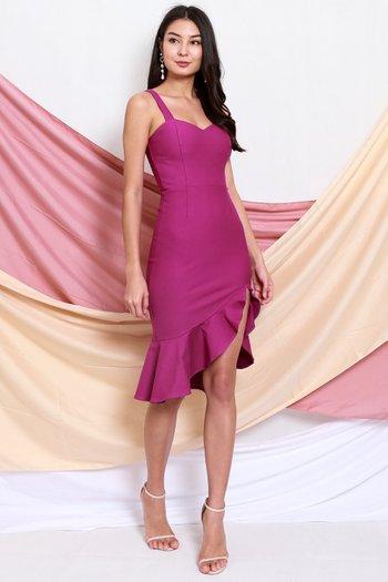 *Premium* Sweetheart Ruffle Slit Dress (Magenta)