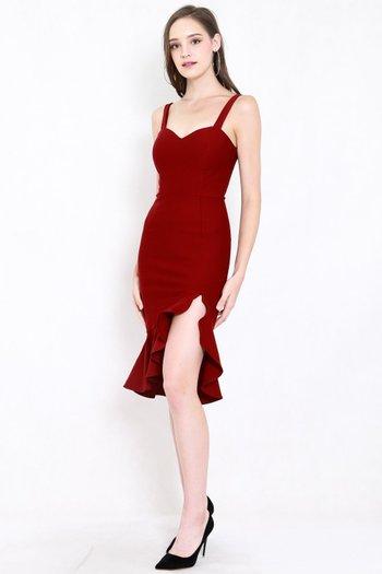 *Premium* Sweetheart Ruffle Slit Dress (Maroon)
