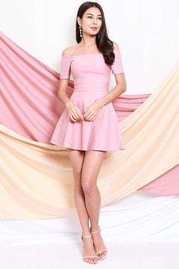 *Premium* Off Shoulder Skater Dress (Light Pink)
