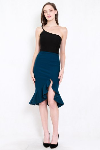 *Premium* Ruffle Slit Midi Skirt (Teal)