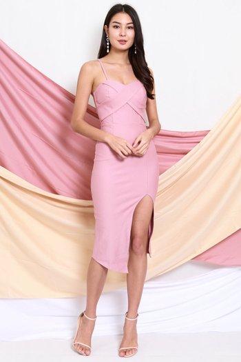 *Premium* Crossover Slit Spag Dress (Light Pink)