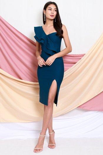 *Premium* Ruffle Toga Slit Midi Dress (Teal)