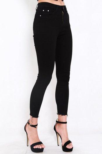 Ibiza Fray Hem Jeans (Black)