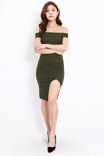Bandage Off Shoulder Slit Dress (Olive)