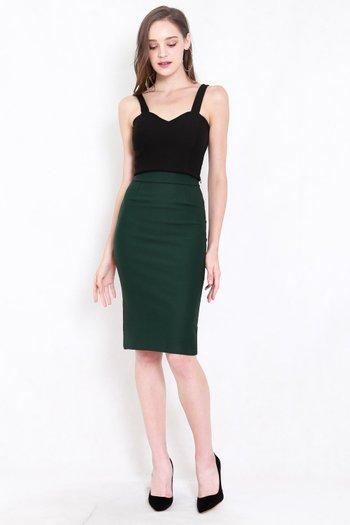 *Premium* Pencil Midi Skirt (Forest Green)