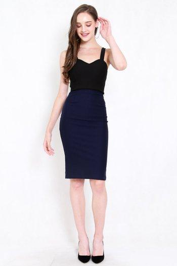 *Premium* Pencil Midi Skirt (Navy)