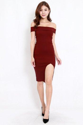 Bandage Off Shoulder Slit Dress (Maroon)