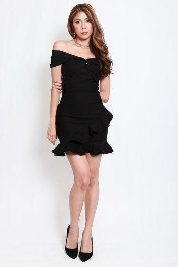 *Premium* Twist Knot Mermaid Offsie Dress (Black)