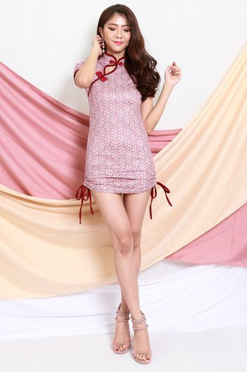 Side Drawstring Red Cheongsam Dress