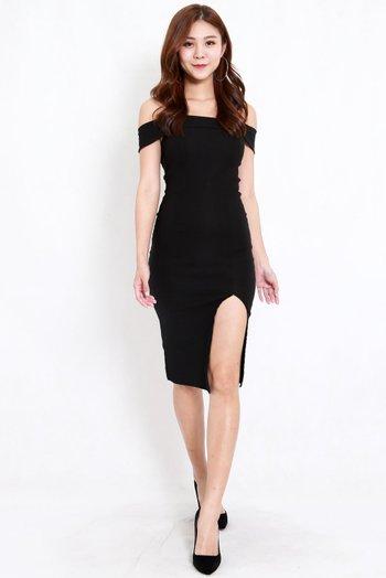 Bandage Off Shoulder Slit Dress (Black)