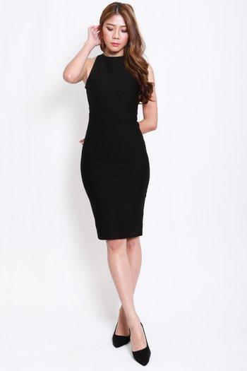 *Premium* High Neck Cross Back Midi Dress (Black)