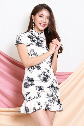 Mono Floral Mermaid Cheongsam Dress