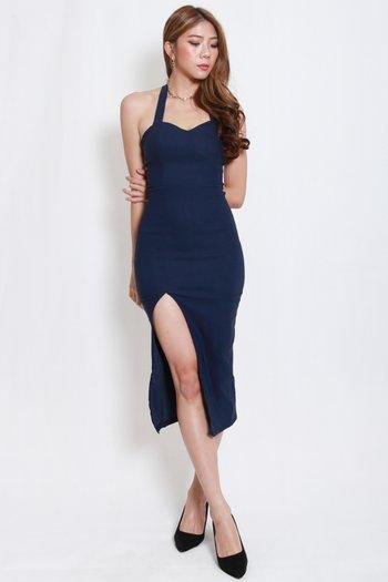 Sweetheart Halter Midi Dress (Navy)